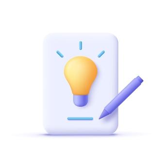 Redação escrita ícone escrita criativa e narrativa ilustração em vetor 3d
