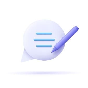 Redação, ícone de escrita. conceito de documento. balão, texto e lápis. ilustração em vetor 3d.