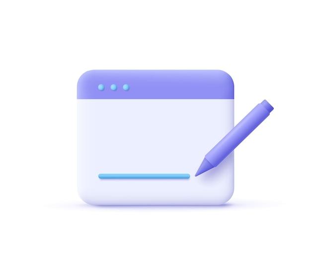 Redação, ícone de escrita. conceito de documento. página da web e lápis. ilustração em vetor 3d.