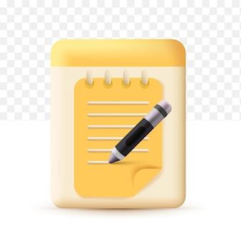 Redação, ícone de escrita. documento conceito amarelo com caneta. estilo fofo 3d realista em fundo branco transparente
