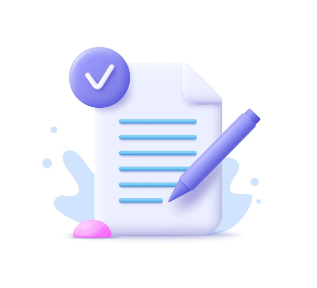 Redação, ícone de escrita. escrita criativa e narração de histórias, conceito de educação. escrevendo o conceito de educação. ilustração em vetor 3d.
