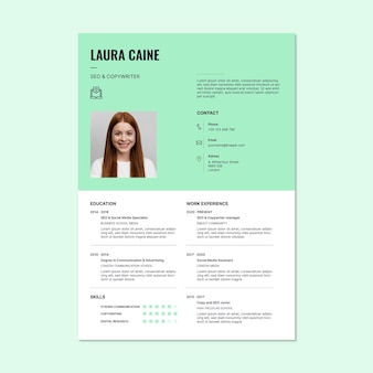 Redator laura simples e moderno e modelo de currículo de publicidade de seo
