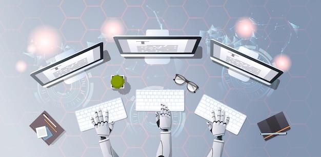 Redator roobot escrevendo artigo digitando texto documento