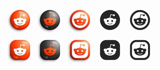Reddit moderno 3d e conjunto de ícones plana