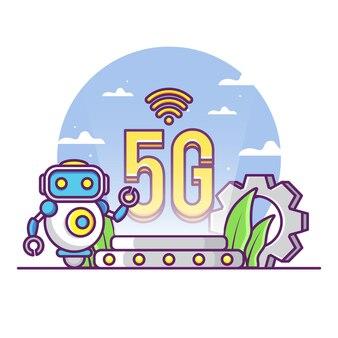 Rede 5g com robô fofo