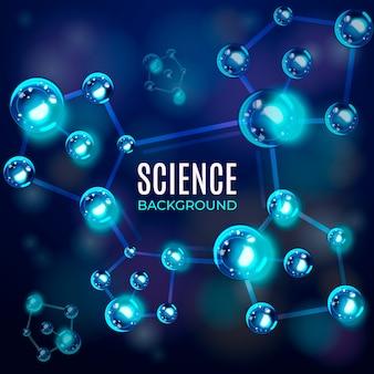 Rede azul realista de fundo de átomos