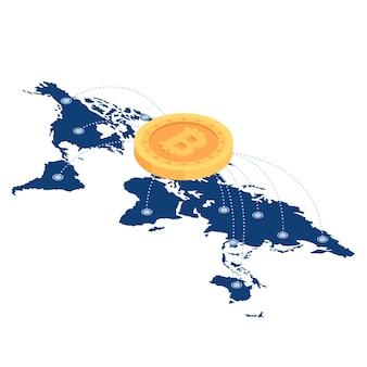 Rede bitcoin isométrica 3d plana sobre o mapa-múndi. criptomoeda e conceito de tecnologia blockchain.