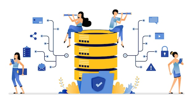 Rede de banco de dados segura comunicar e compartilhar dados armazenados em pastas