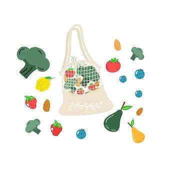Rede de compras eco de algodão com vegetais, frutas e bebidas saudáveis. alimentos lácteos em sacola de compras ecológica reutilizável. resíduos zero, conceito livre de plástico. design moderno e plano