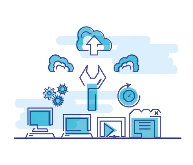 Rede de computação em nuvem com computadores