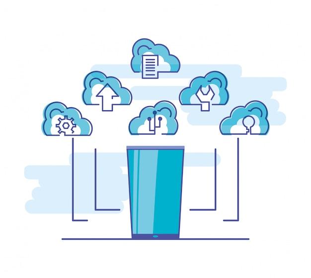 Rede de computação em nuvem com smartphone