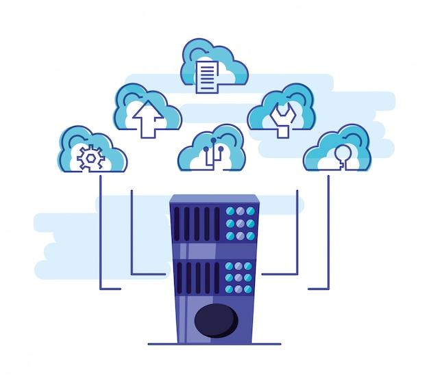 Rede de computação em nuvem com torre de servidores
