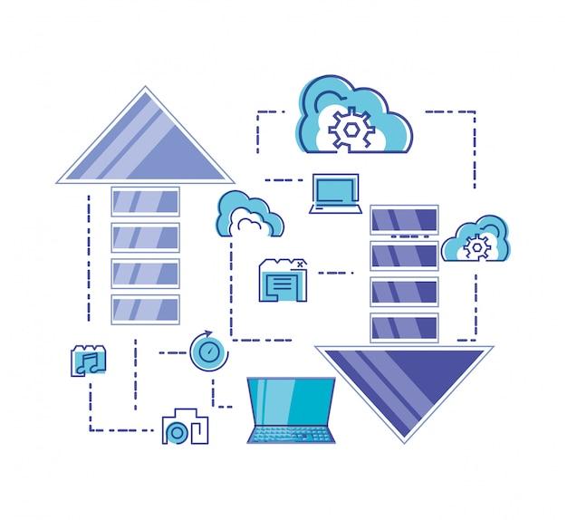 Rede de computação em nuvem conjunto de ícones