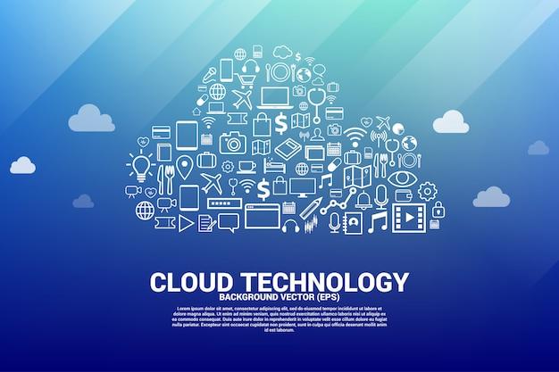 Rede de computação em nuvem em forma com o ícone funcional.