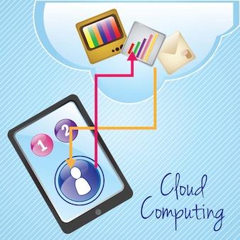Rede de computação em nuvem no fundo azul ilustração vetorial