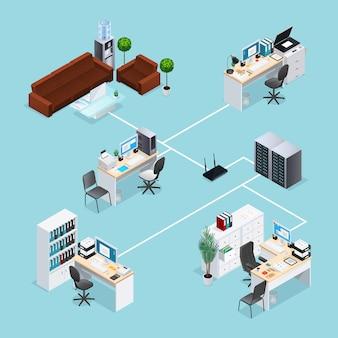 Rede de computador de escritório isométrica