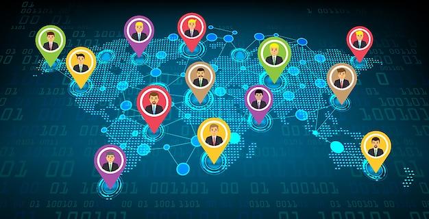 Rede de comunidade de negócios com o mapa do mundo