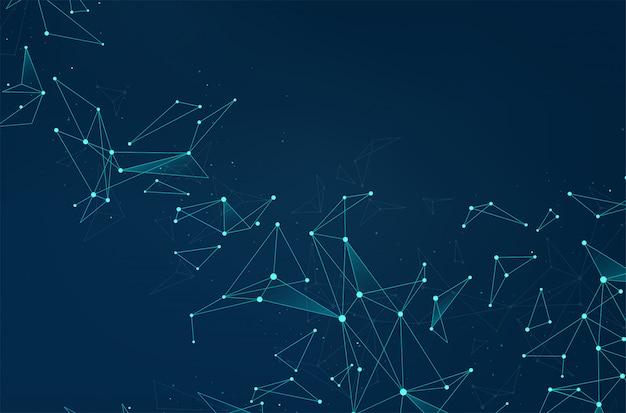Rede de conexões abstratas com pontos e linhas sobre fundo azul.