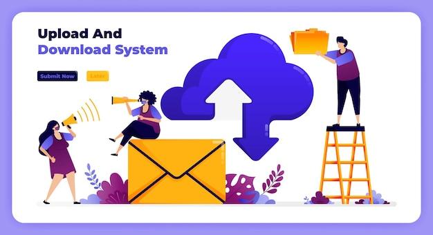 Rede de download e upload de internet em sistema de nuvem e serviços de e-mail.