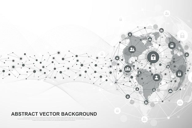 Rede de estrutura global e conceito de conexão de dados.