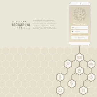 Rede de hexágono com ícone no fundo.