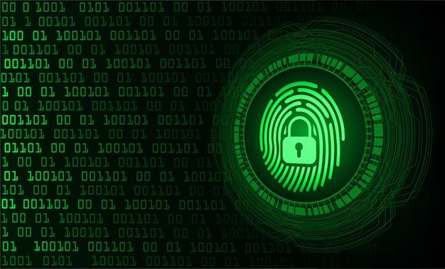 Rede de impressão digital fundo de segurança cibernética, cadeado fechado