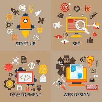 Rede de infográfico de negócios e estratégia de marketing de finanças
