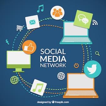 Rede de mídia social colorido