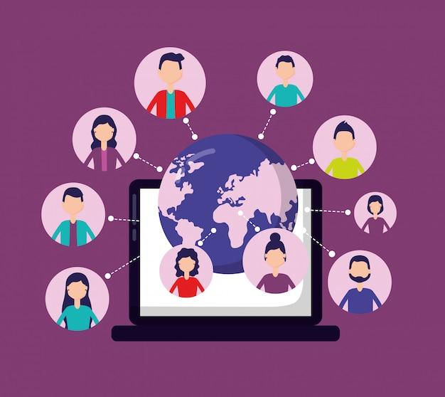Rede de mídia social com avatares