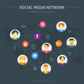 Rede de mídia social com avatars