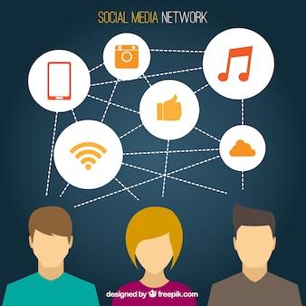 Rede de mídia social com ícones