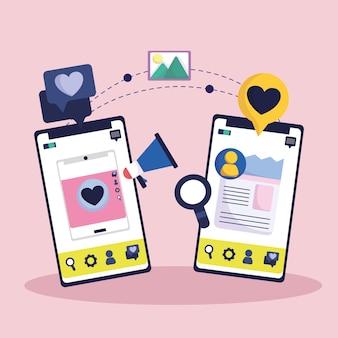 Rede de mídia social de marketing de smartphone