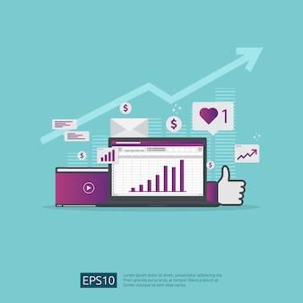 Rede de mídia social e cartaz de marketing digital, página da web, banner, apresentação. análise de audiência de tráfego da web para estratégia de crescimento dos negócios.