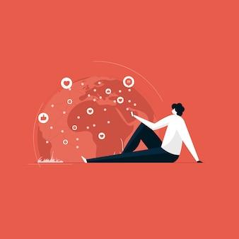 Rede de mídia social e conceito de marketing digital Vetor Premium