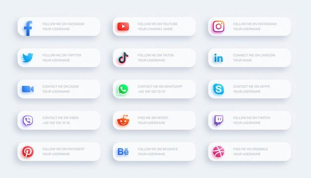 Rede de mídia social, terceiro inferior, ícones brilhantes, banner 3d definido em fundo claro