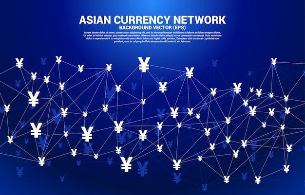 Rede de moeda asiática de dinheiro de vetor de polígono conectar linha. conceito de conexão de rede financeira do japão e da china.