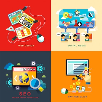 Rede de negócios seo infográfico e estratégia de marketing de finanças