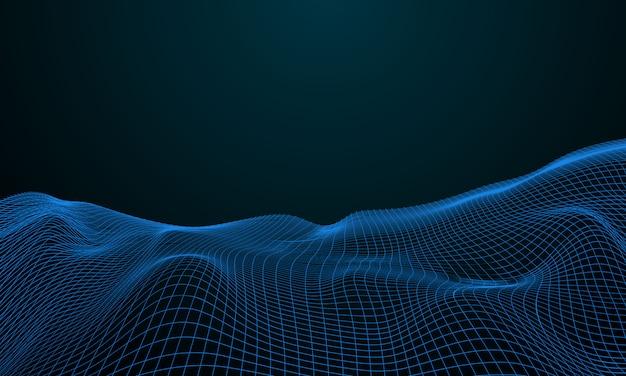 Rede de partículas de névoa segurança cibernética. fundo de tecnologia de big data.