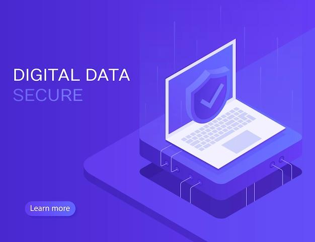 Rede de segurança. acesso pessoal e proteger o laptop. banner seguro de dados digitais. ilustração 3d isométrica moderna