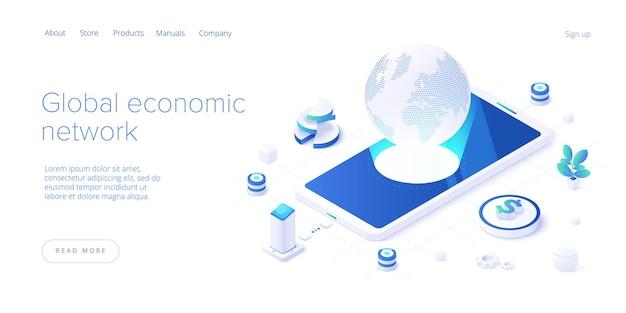 Rede econômica global na página de destino isométrica. economia mundial ou conceito de mapa financeiro global. negócios internacionais. modelo de layout de banner da web.