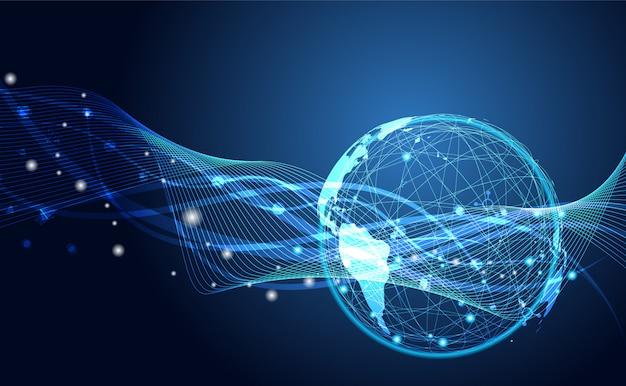 Rede global conexão de fluxo de onda futurista