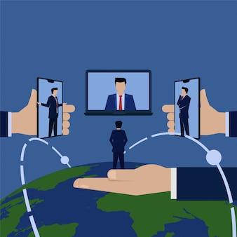 Rede global on-line de reunião de negócios.