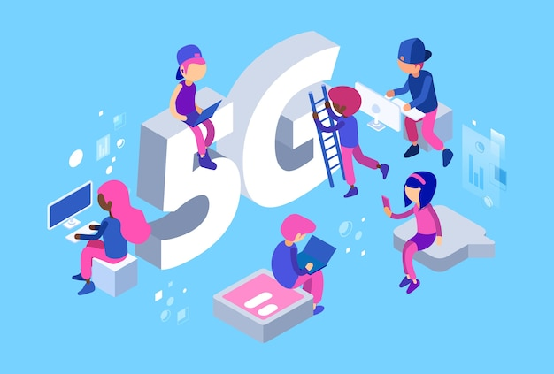 Rede isométrica 5g, pessoas diferentes, desenvolvedores da web no trabalho, velocidade da rede wi-fi, ilustração rápida de comunicação móvel