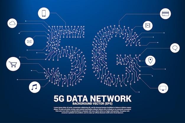 Rede móvel 5g de estilo gráfico de placa de circuito ponto e linha