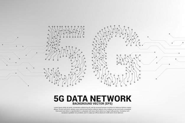 Rede móvel 5g de placa de circuito de ponto e linha