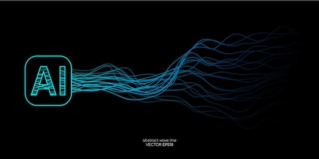 Rede neural de linhas onduladas de ai (inteligência artificial) com letras ai nas cores verdes e azuis em fundo preto.