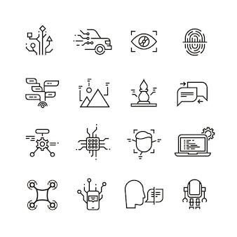 Rede neural, ícones de linha de inteligência artificial.