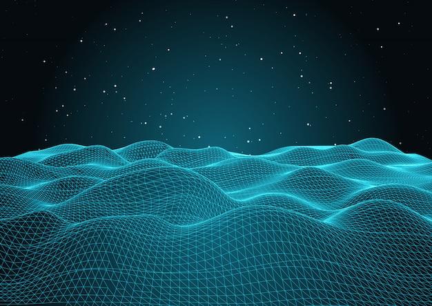 Rede ondulada 3d com céu estrelado