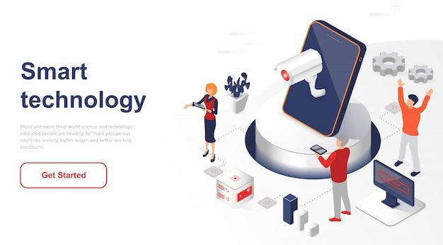 Rede ou tecnologia inteligente isométrica da página de destino
