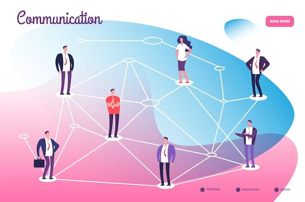 Rede que conecta profissionais. conexão do trabalho em equipe de comunicação global e conceito de tecnologia de rede.